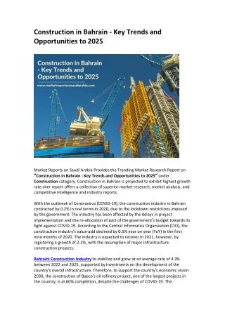 Construction in Bahrain - Key Trends and Opportunities to 2025