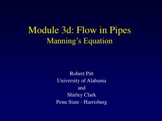 Module 3d: Flow in Pipes Manning's Equation