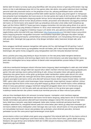 Buka Peluang Anyar Mengenai Agen Judi Slot Online JOKER123