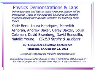 Physics Demonstrations & Labs