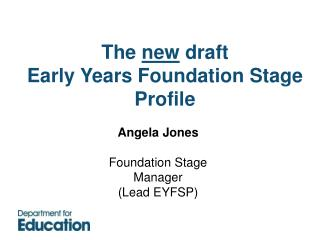 Angela Jones  Foundation Stage Manager Lead EYFSP