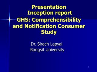 Presentation  Inception report GHS: Comprehensibility and Notification Consumer Study