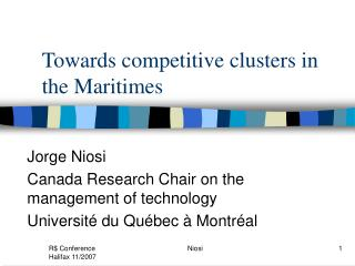 Towards competitive clusters in the Maritimes