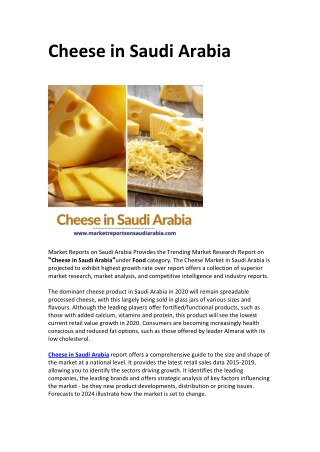 Saudi Arabia Cheese Market Opportunity and Forecast 2024