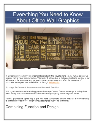 Buiding an Incredible Professional Office Wall Graphics with Vizcomm Signs & Graphics
