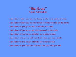 """Big House"" Audio Adrenaline"