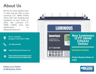 Buy Luminous ILTT 18048 (150Ah) Online