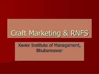 Craft Marketing & RNFS