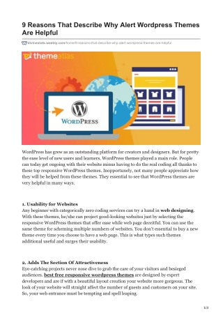9 Reasons That Describe Why Alert Wordpress Themes Are Helpful