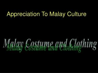 Appreciation To Malay Culture