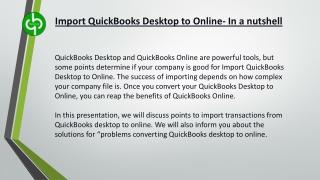Import QuickBooks Desktop to Online