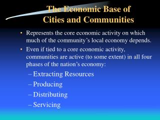 The Economic Base of Cities and Communities