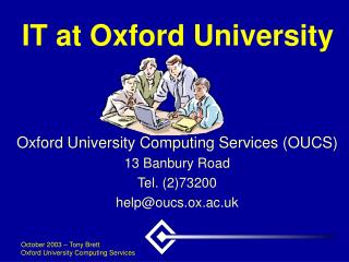 IT at Oxford University