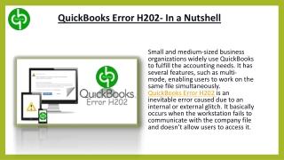 QuickBooks Error H202- In a Nutshell