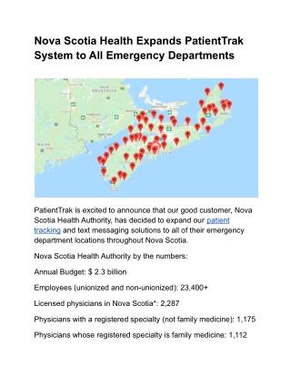 Nova Scotia Health Expands PatientTrak System to All Emergency Departments