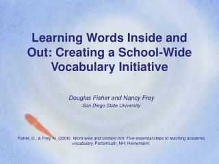 Learning Words Inside and Out: Creating a School-Wide Vocabulary Initiative