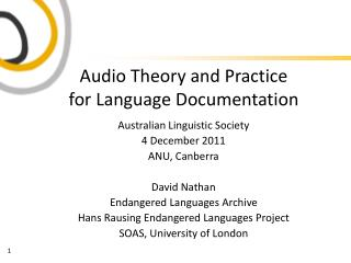 Audio Theory and Practice for Language Documentation