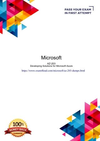 Microsoft AZ-203 Dumps PDF-Online Microsoft AZ-203 Test Engine Exam4Lead