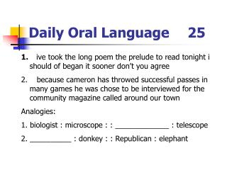 Daily Oral Language	25