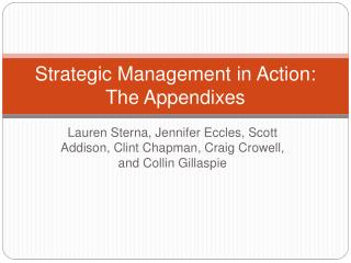 Strategic Management in Action: The Appendixes