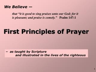 We Believe —