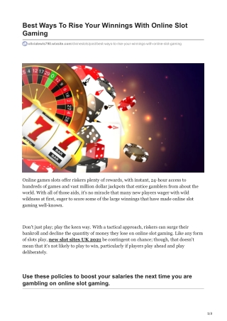 Best Ways To Rise Your Winnings With Online Slot Gaming