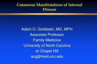 Cutaneous Manifestations of Internal Disease