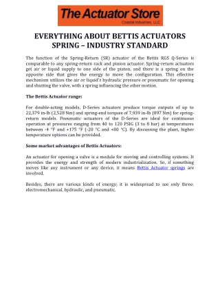 Everything About Bettis Actuators Spring – Industry Standard