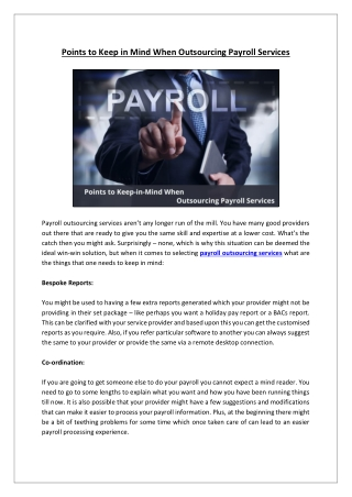 Points to Keep in Mind When Outsourcing Payroll Services