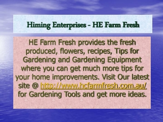 Home Improvement Show - HE Farm Fresh