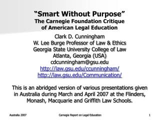 """Smart Without Purpose"" The Carnegie Foundation Critique  of American Legal Education"