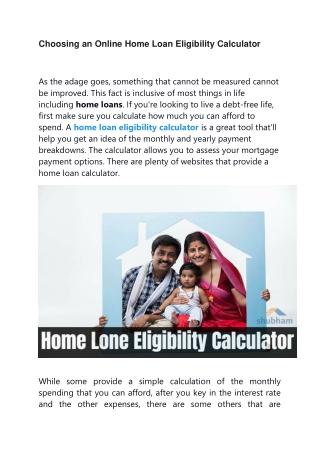 Choosing an Online Home Loan Eligibility Calculator