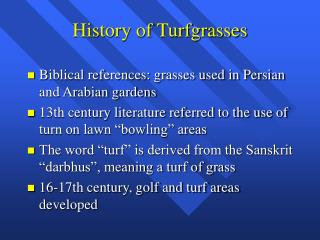 History of Turfgrasses