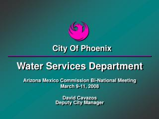 Water Services Department Arizona Mexico Commission Bi-National Meeting March 9-11, 2008 David Cavazos Deputy City Manag