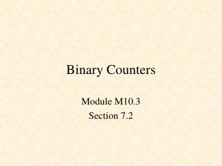 Binary Counters