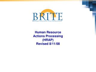 Human Resource  Actions Processing (HRAP) Revised 8/11/08