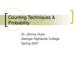 Counting Techniques & Probability