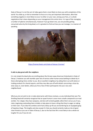 Best state of decay 2 Tips