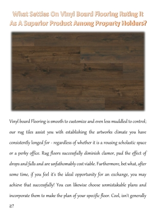 What Settles On Vinyl Board Flooring Rating It As A Superior Product Among Property Holders?