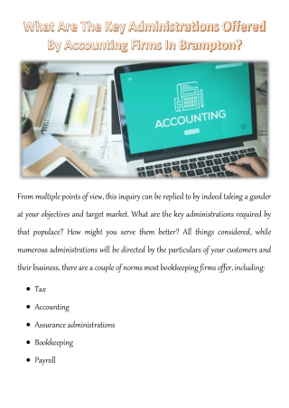 What Are The Key Administrations Offered By Accounting Firms In Brampton?