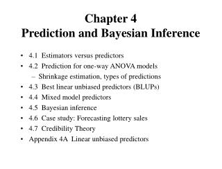 Chapter 4 Prediction and Bayesian Inference