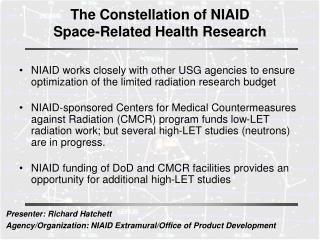 The Constellation of NIAID  Space-Related Health Research