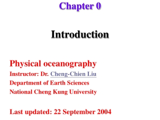 Physical Oceanography Intro