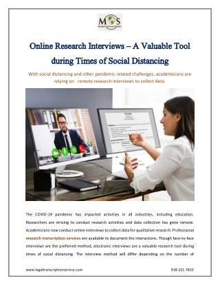 Online Research Interviews – A Valuable Tool during Times of Social Distancing