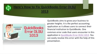 QuickBooks Error OLSU 1013- In Simple Terms