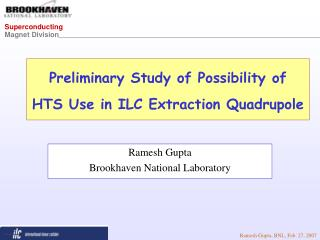 Preliminary Study of Possibility of  HTS Use in ILC Extraction Quadrupole