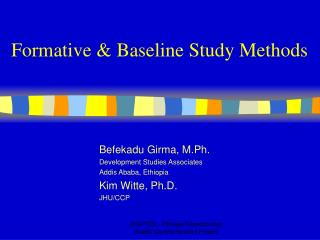 Formative & Baseline Study Methods