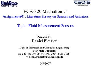 ECE5320 Mechatronics Assignment#01: Literature Survey on Sensors and Actuators  Topic: Fluid Measurement Sensors