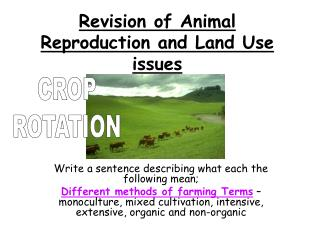 Revision of Animal Reproduction and Land Use issues