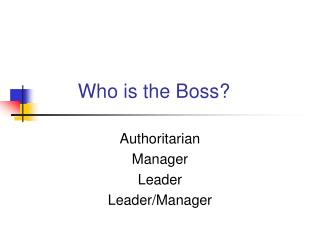Who is the Boss?